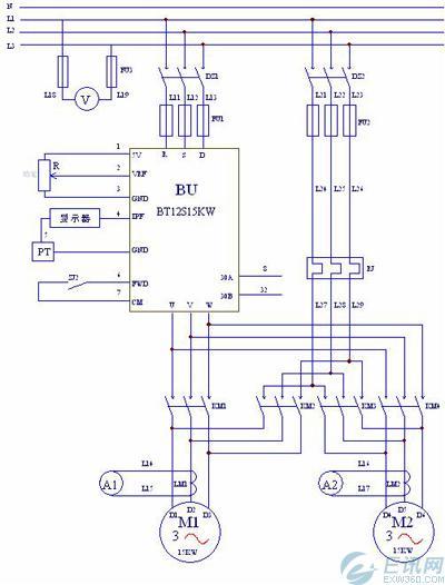 图1恒压供水主电路原理图-变频器在高速公路上的应用