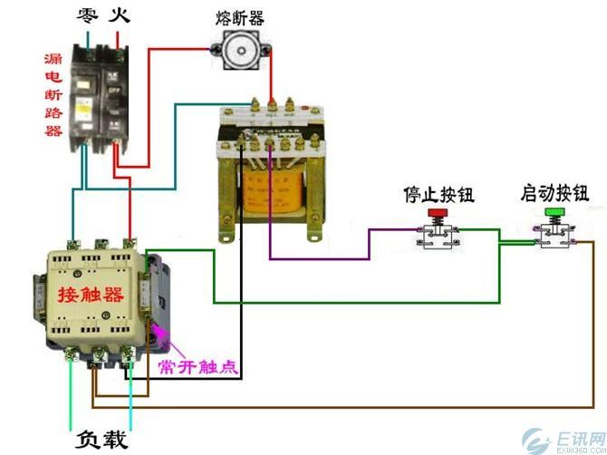 电工电路中断路器和交流接触器接线图图片