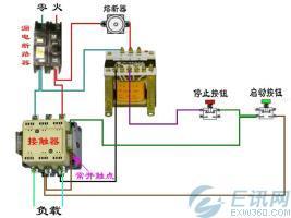 电工电路中断路器和交流接触器接线图